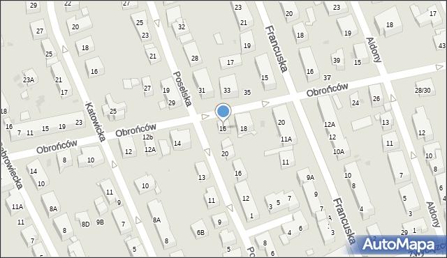 Warszawa, Obrońców, 16, mapa Warszawy