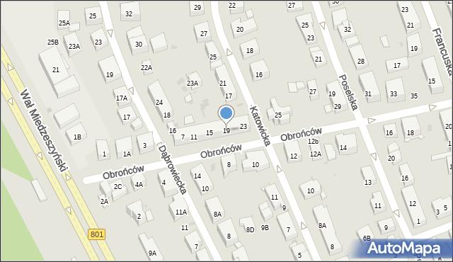 Warszawa, Obrońców, 19, mapa Warszawy