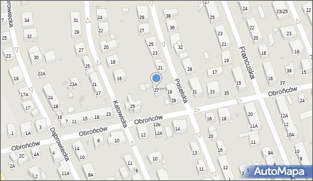 Warszawa, Obrońców, 27, mapa Warszawy