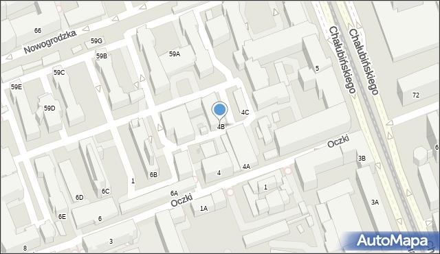 Warszawa, Oczki Wojciecha, 4B, mapa Warszawy