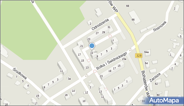 Chocianów, Odrodzenia, 11, mapa Chocianów