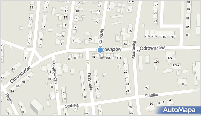 Gliwice, Odrowążów, 100, mapa Gliwic