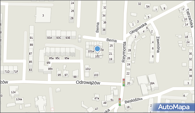 Gliwice, Odrowążów, 101, mapa Gliwic