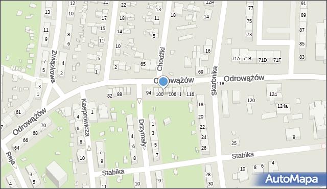 Gliwice, Odrowążów, 102, mapa Gliwic