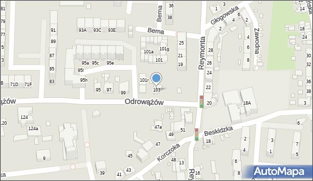 Gliwice, Odrowążów, 103, mapa Gliwic