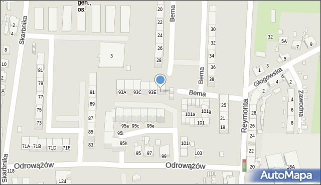 Gliwice, Odrowążów, 93F, mapa Gliwic