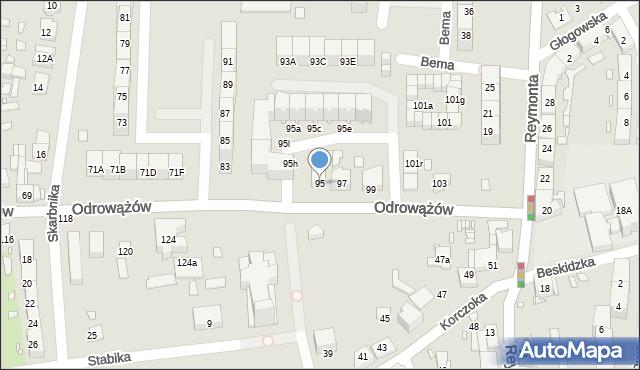 Gliwice, Odrowążów, 95, mapa Gliwic
