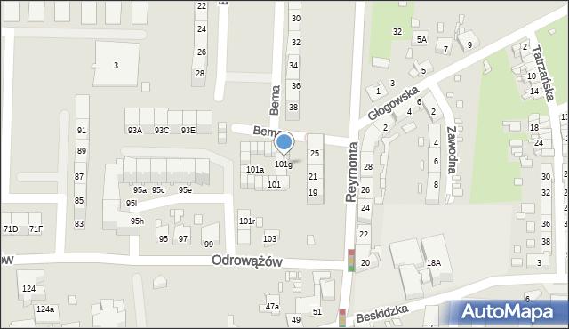 Gliwice, Odrowążów, 101g, mapa Gliwic