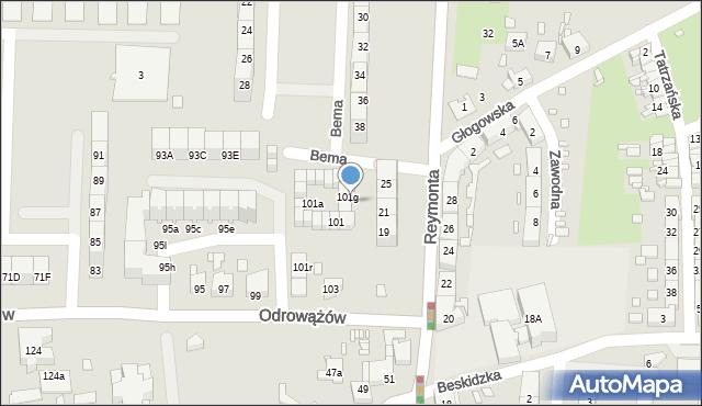 Gliwice, Odrowążów, 101h, mapa Gliwic