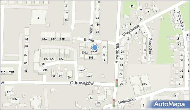Gliwice, Odrowążów, 101i, mapa Gliwic