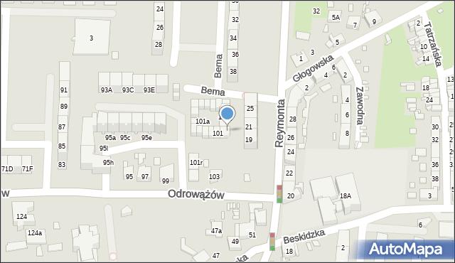 Gliwice, Odrowążów, 101j, mapa Gliwic