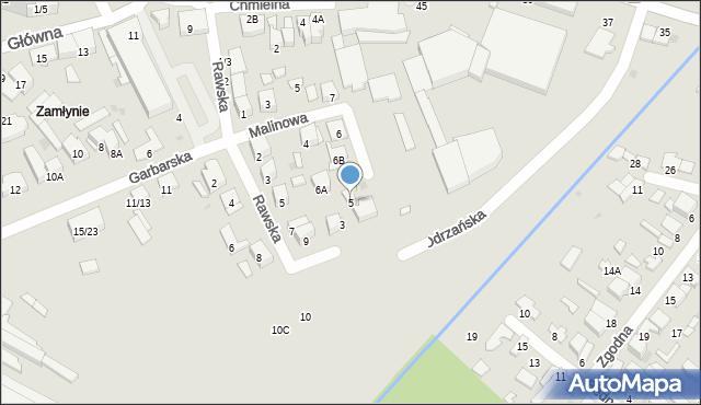 Radom, Odrzańska, 5, mapa Radomia