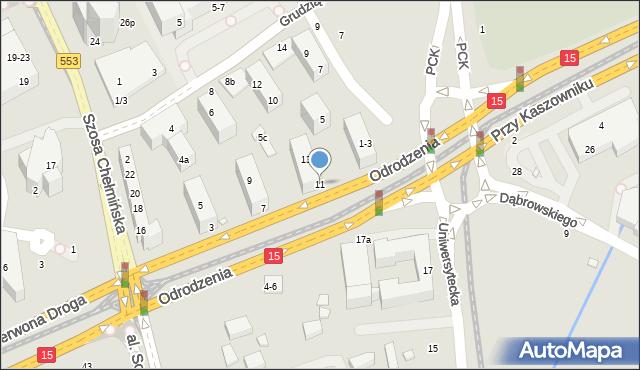 Toruń, Odrodzenia, 11, mapa Torunia