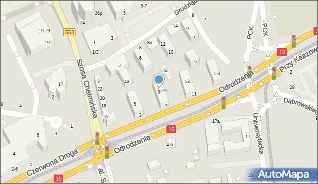 Toruń, Odrodzenia, 9, mapa Torunia