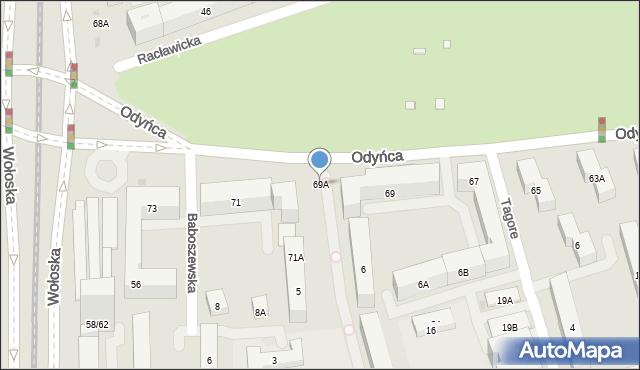 Warszawa, Odyńca Antoniego Edwarda, 69A, mapa Warszawy