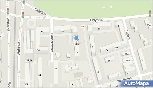 Warszawa, Odyńca Antoniego Edwarda, 71A, mapa Warszawy