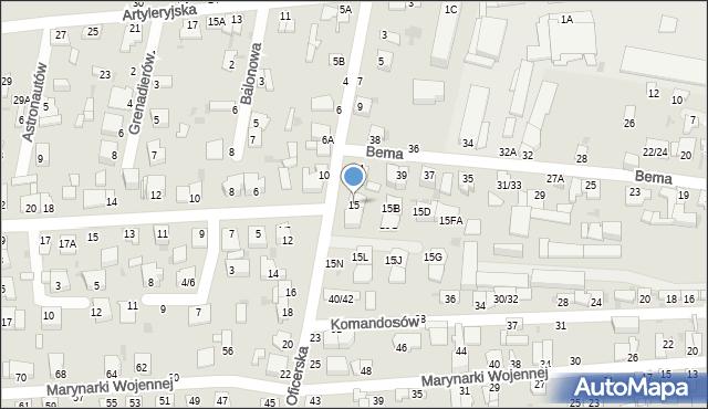 Częstochowa, Oficerska, 15, mapa Częstochowy