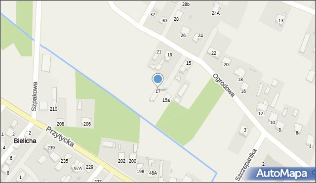 Bielicha, Ogrodowa, 17, mapa Bielicha