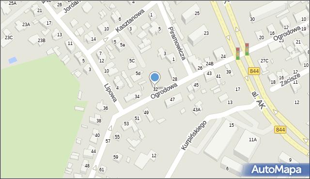 Chełm, Ogrodowa, 32, mapa Chełma