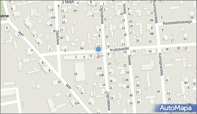 Jedwabne, Ogrodowa, 12, mapa Jedwabne