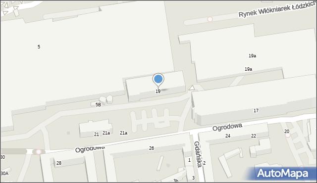 Łódź, Ogrodowa, 19, mapa Łodzi