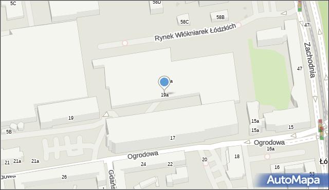 Łódź, Ogrodowa, 19a, mapa Łodzi