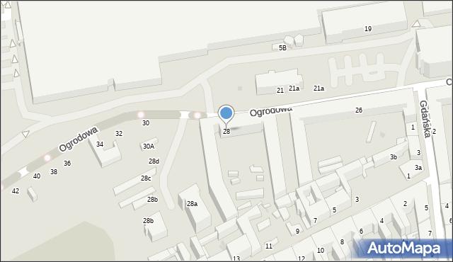 Łódź, Ogrodowa, 28, mapa Łodzi