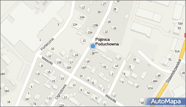 Piątnica Poduchowna, Ogrodowa, 18, mapa Piątnica Poduchowna