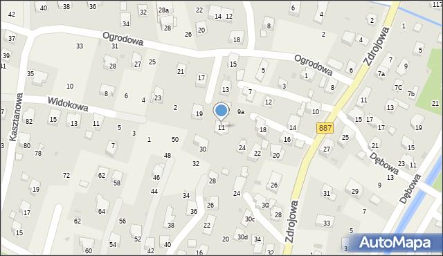 Rymanów-Zdrój, Ogrodowa, 11, mapa Rymanów-Zdrój