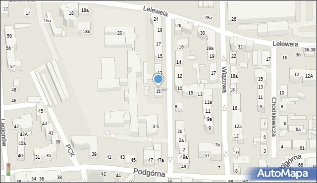 Toruń, Ogrodowa, 11, mapa Torunia