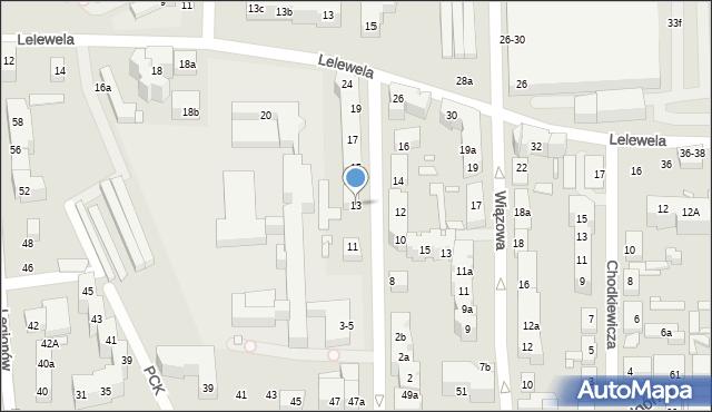 Toruń, Ogrodowa, 13, mapa Torunia