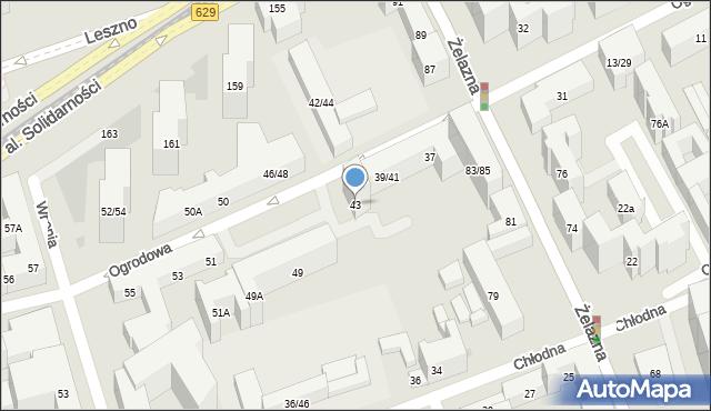 Warszawa, Ogrodowa, 43, mapa Warszawy