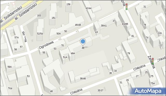 Warszawa, Ogrodowa, 49, mapa Warszawy