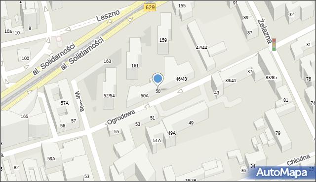 Warszawa, Ogrodowa, 50, mapa Warszawy