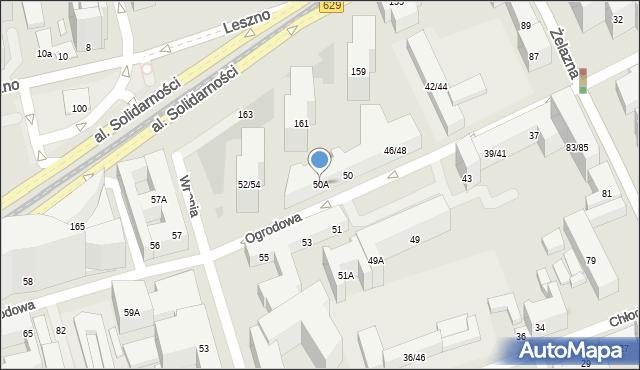Warszawa, Ogrodowa, 50A, mapa Warszawy