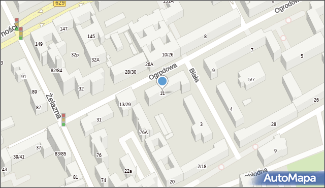 Warszawa, Ogrodowa, 11, mapa Warszawy