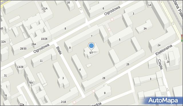 Warszawa, Ogrodowa, 5/7, mapa Warszawy