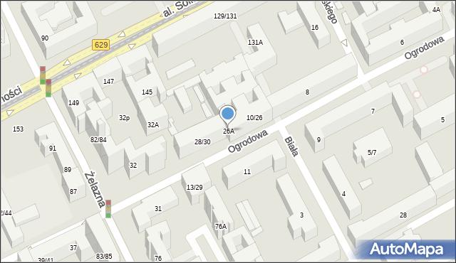 Warszawa, Ogrodowa, 26A, mapa Warszawy