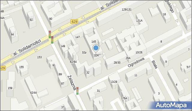 Warszawa, Ogrodowa, 32A, mapa Warszawy