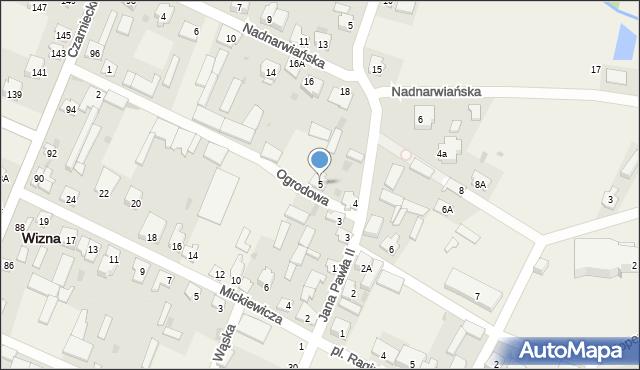 Wizna, Ogrodowa, 5, mapa Wizna