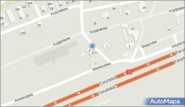 Warszawa, Ojca Aniceta, 3, mapa Warszawy