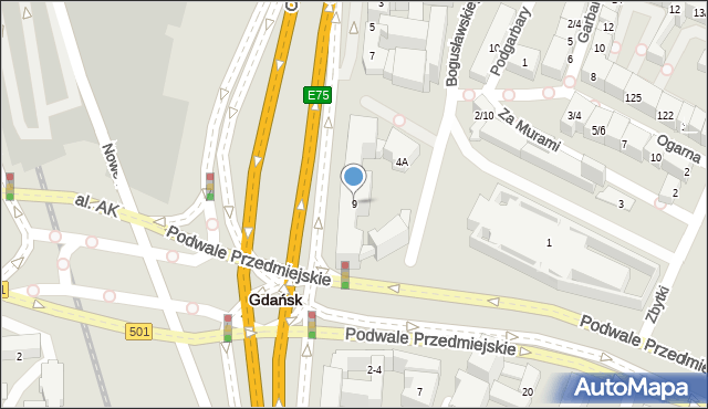 Gdańsk, Okopowa, 9, mapa Gdańska
