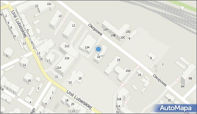 Kołobrzeg, Okopowa, 14, mapa Kołobrzegu