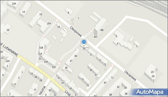 Kołobrzeg, Okopowa, 20, mapa Kołobrzegu