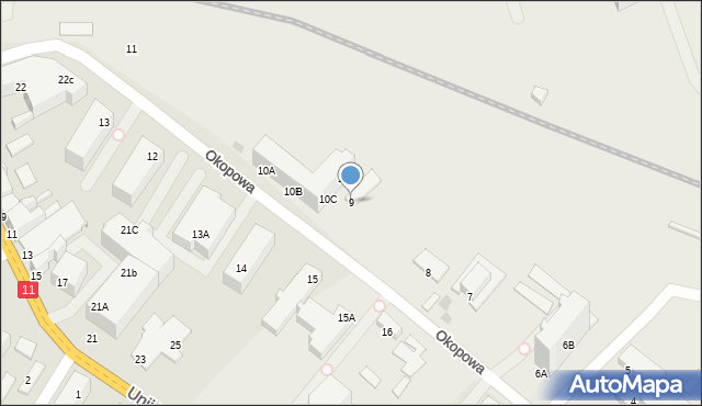 Kołobrzeg, Okopowa, 9, mapa Kołobrzegu
