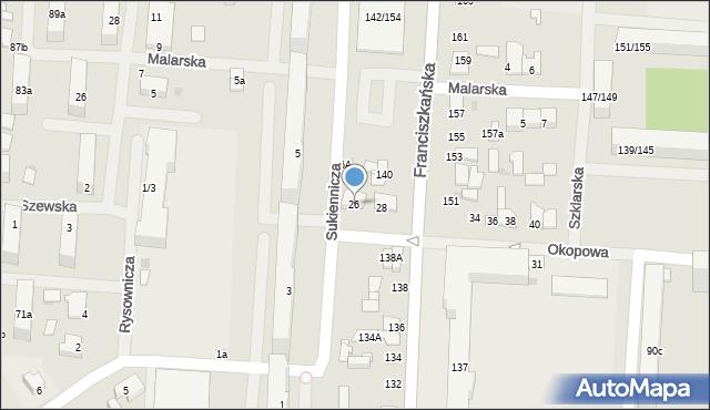 Łódź, Okopowa, 26, mapa Łodzi