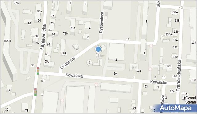 Łódź, Okopowa, 3, mapa Łodzi