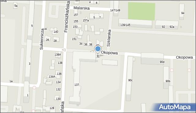 Łódź, Okopowa, 31, mapa Łodzi
