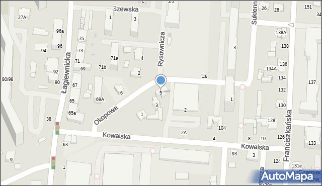 Łódź, Okopowa, 5, mapa Łodzi