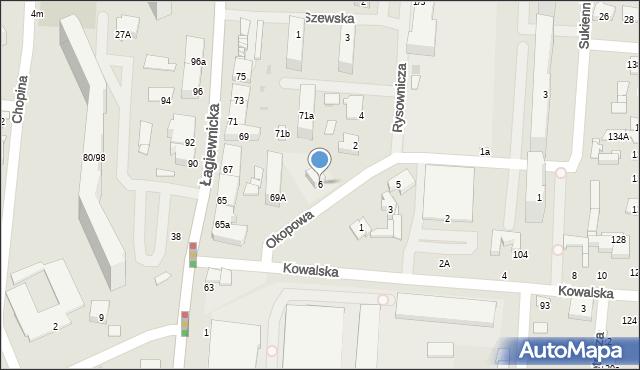 Łódź, Okopowa, 6, mapa Łodzi